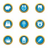 Sleepy Evening Icons Set. Flat Set Of 9 Sleepy Evening Vector Icons For Web Isolated On White Backgr poster