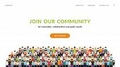 Join Our Community. Flat Concept Vector Website Template And Landing Page Design For Invitation To S poster