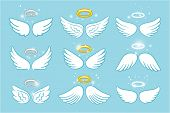 Wings And Nimbus. Angel Winged Glory Halo Cute Cartoon Drawings Vector Illustration On Blue Backgrou poster
