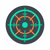 Gun Target Icon. Flat Illustration Of Gun Target Vector Icon For Web Isolated On White poster