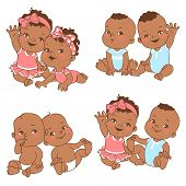 Baby Shower Set. Baby Girl And Baby Boy With Blank Text Bubble. Say Hello Mom Or Day. Different Pair poster