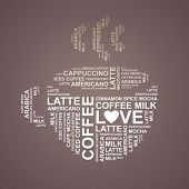 coffee cup typography from words - vector background