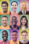 Happy smiling portrait collage collection of multiracial group of people showing racial diversity an