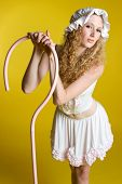 stock photo of nursery rhyme  - Redhead girl wearing little bo peep costume - JPG