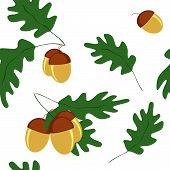 Vector Seamless Pattern With Acorns