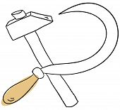 image of hammer sickle  - Vector hammer and sickle on a white background - JPG