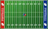 stock photo of football field  - Illustration of a football field with red and blue end zones - JPG