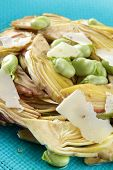 artichokes, broad beans and parmesan cheese