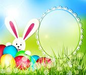 stock photo of rabbit hole  - easter background with frame for text - JPG