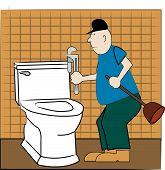 picture of pipefitter  - handyman or plumber fixing broken toilet  - JPG