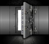 stock photo of bank vault  - Illustration of a bank vault in a grunge interior - JPG