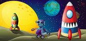 Illustration of the two spaceships and a purple robot in the outerspace