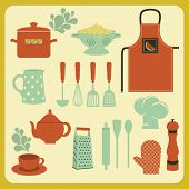 stock photo of oven  - Set of Kitchen Accessories and Utensils - JPG