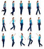 Постер, плакат: набор «вид сзади пешеходного и работает женщина в джинсах» блондинка девочка в движении вид сзади p