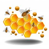 stock photo of beehive  - Abstract colorful illustration with bees and honeycomb filled with fresh honey - JPG