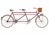 foto of tandem bicycle  - Vintage tandem bicycle with picnic basket on a white background - JPG