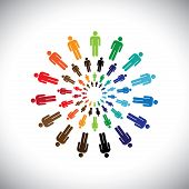 Colorful Multi-ethnic People Teams Or Communities Meet As Circles