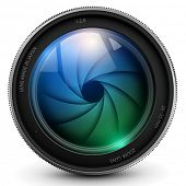 stock photo of optical  - camera photo lens with shutter - JPG