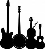 stock photo of banjo  - A group of silhouetted stringed instruments including an electric guitar a banjo a violin and a ukulele - JPG