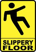 stock photo of slip hazard  - sign with yellow background indicating a slippery wet floor - JPG