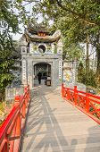 HANOI, VIETNAM - JANUARY 13: Ngoc Son Temple was built in the 18th century on Jade Island in the cen