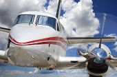 foto of propeller plane  - Close up of corporate airplane with propeller engine - JPG
