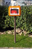 picture of defibrillator  - Automated External Defibrillator in the box at pole - JPG