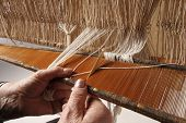 picture of handloom  - Various stages of processing of industrial fabrics or craft - JPG