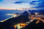 stock photo of carnival brazil  - Night view of Copacabana beach  Rio de Janeiro. Brazil