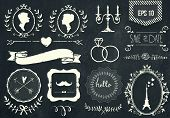 foto of wedding  - Retro chalk elements and icons set for retro design - JPG