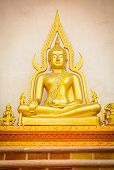 picture of budha  - the golden budha sitting in the temple - JPG