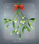 stock photo of mistletoe  - Christmas vintage card with mistletoe - JPG