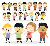 stock photo of singing  - Illustration of kids of different nationalities singing - JPG