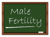 pic of semen  - Male Fertility text written on a green board with chalk - JPG
