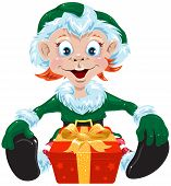 foto of gnome  - Christmas gnome with a present - JPG