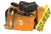 picture of mayhem  - Suede pouch filled with automatic pistol - JPG