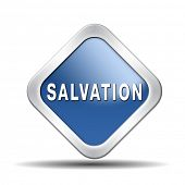 stock photo of salvation  - salvation follow jesus and god to be rescued save your soul icon button with text and word - JPG
