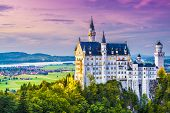 stock photo of bavarian alps  - Neuschwanstein Castle in Germany - JPG