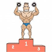 Bodybuilder On Winner Podium.vector Isolated On White.