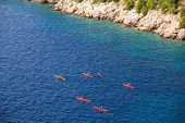 stock photo of waterspout  - View of Kayaking in the Croatian sea - JPG