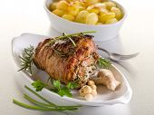 stock photo of veal  - rolled veal stuffed with nuts - JPG