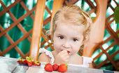 picture of strawberry blonde  - cute little girl eating strawberries sitting on a wooden bench - JPG
