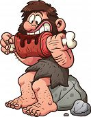picture of caveman  - Cartoon caveman eating meat - JPG