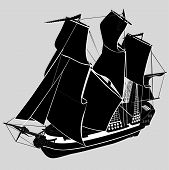 stock photo of galleon  - ship  transportation water silhouette  travel deco elements - JPG