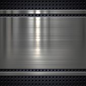 foto of titanium  - Metal plate on metal mesh background or texture - JPG