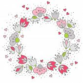 pic of centerpiece  - Messy different colorful pink gray flowers and hearts in round wreath on white background with little dots retro romantic botanical centerpiece illustration with place for your text - JPG
