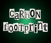 pic of carbon-footprint  - Illustration depicting a set of cut out printed letters arranged to form the words carbon footprint - JPG