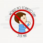 pic of anti-cancer  - Anti Smoking concept with illustration of a young boy with cigarette for World No Tobacco Day - JPG