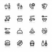 stock photo of junk  - Set of flat icons about fast food and junk food with reflection - JPG