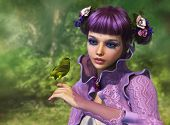 image of songbird  - 3d computer graphics of a girl with a bird on her finger - JPG